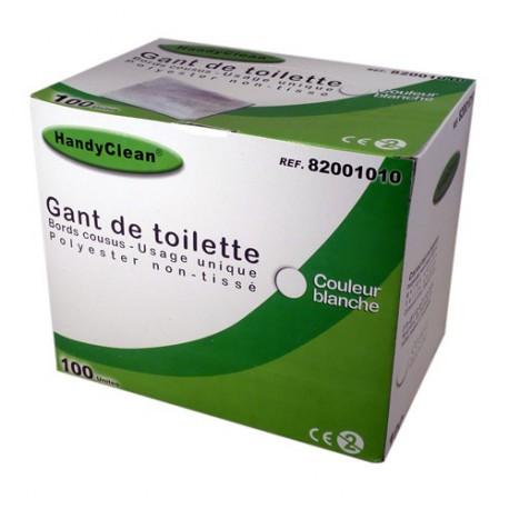 Gant de toilette standard - 80g/m2, blanc, 100 pièces